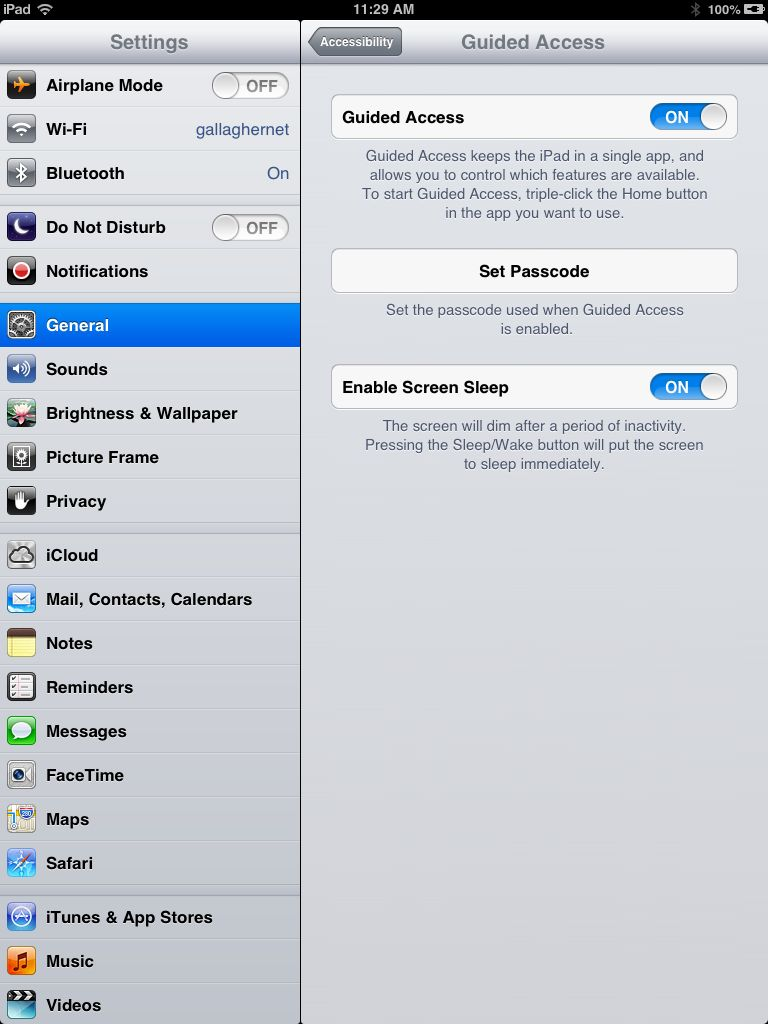 The Guided Access configuration screen in iOS 6's Settings,