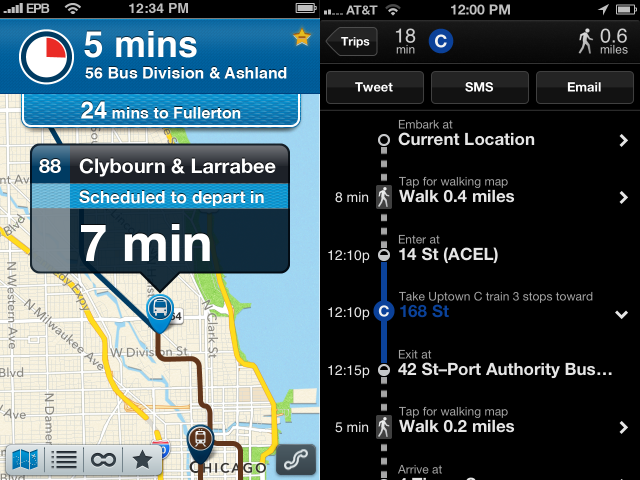 Buster 3 on the left, Embark NYC on the right. Both plug into iOS 6's new Maps app to offer transit directions.