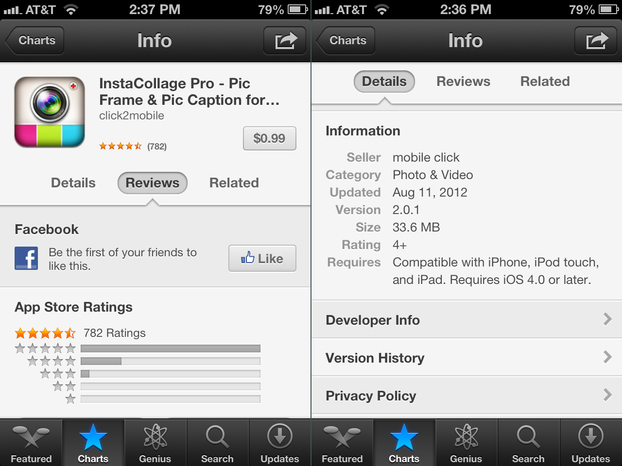 Reviews (left) and related apps (right) are in separate sub-tabs.