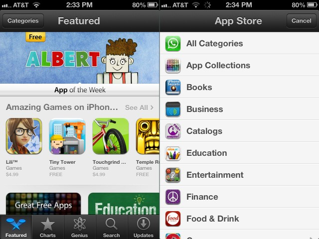 The main App Store view on the iPhone (left) can be filtered by specific categories (right).
