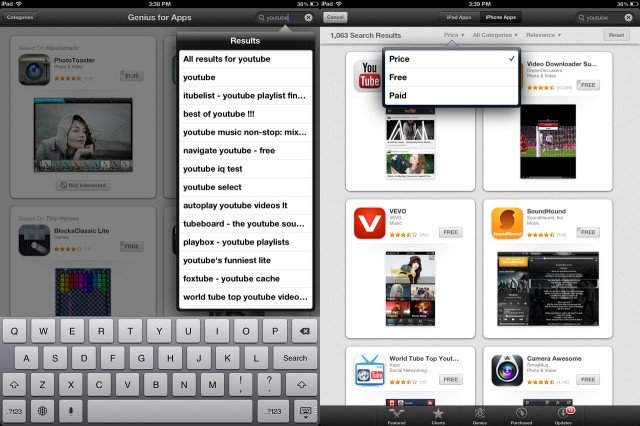 App search on the iPad is always accessible from the top navbar (left), and the iPad also has a number of helpful filtering options not available on the iPhone.