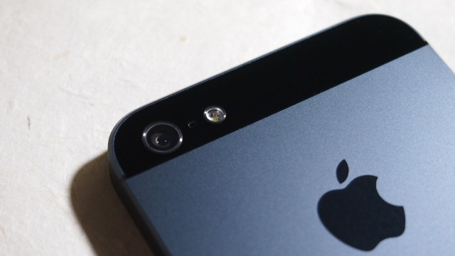 The iPhone 5 camera hardware, including the sapphire covered lens, rear-facing mic for improved audio when shooting video, and the requisite LED flash.