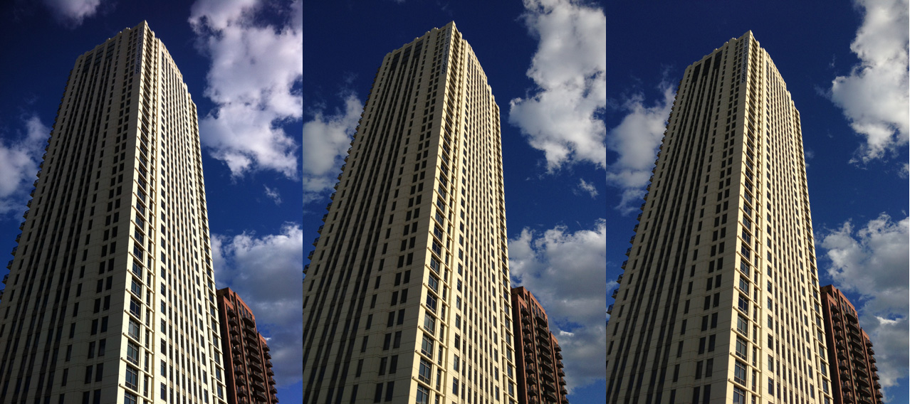 A high-rise condo building in River North is well lit from afternoon sun. The iPhone 4 (left) is very contrasty, compared to the slightly warm iPhone 4S (center) and the rather neutral iPhone 5 (right).