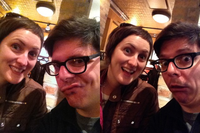 Photographer Michelle Graves and I ham it up for some self-portraits with the iPhone's front facing camera. The VGA camera of the iPhone 4S (left) makes a muddy, noisy mess, while the 1.2MP FaceTime HD camera in the iPhone 5 (right) results in improved Facebook profile pictures.