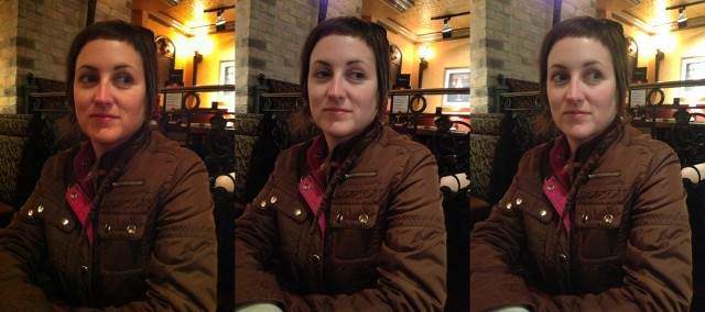 In low light, the iPhone 4 (left) does a respectable job, while the iPhone 4S (center) does better. The iPhone 5 (right) tends to boost exposure a bit to keep detail in the shadow areas.