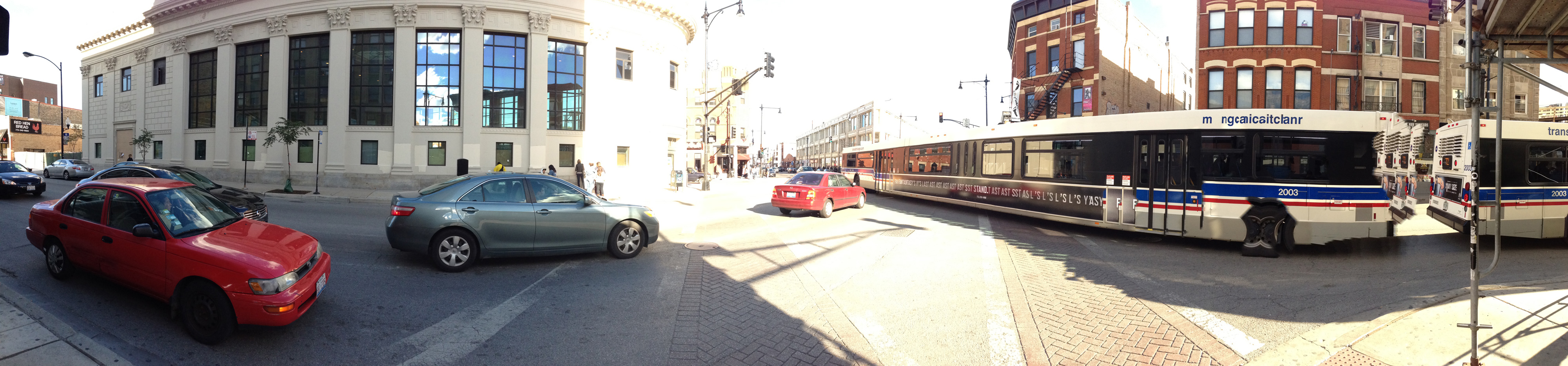 Sometimes moving objects, such as this CTA bus, can present a problem to the iPhone's panorama stitching algorithm.