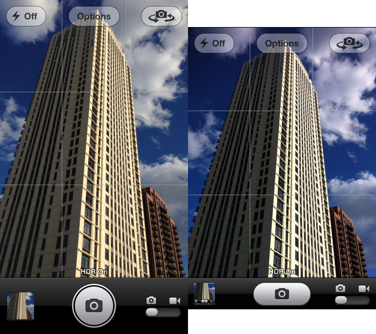 The iPhone 5 Camera interface (left) has a much larger shutter button compared to previous iPhones (right).