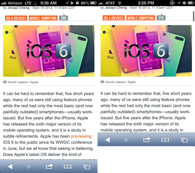 iPhone 5 screenshot on the left, iPhone 4S screenshot on the right. When browsing the Web (or any content), you can now fit more on the screen.