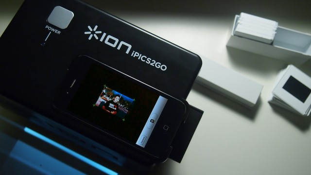 "The Ion iPics2Go makes it easy to ""scan"" old photos, negatives, and slides into an iPhone 4 or 4S."
