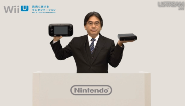 Iwata shows off the Wii U in a 2012 video presentation.