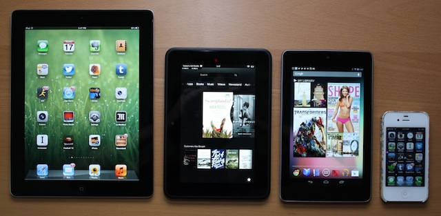 From left: iPad 2, Kindle Fire HD, Nexus 7, iPhone 4S.