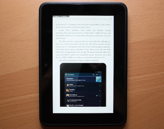 A magazine story reflowed with a new setting in the Kindle Fire HD's Newsstand.
