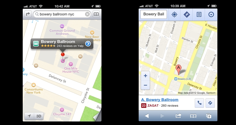 A tale of two cities: A side by side comparison of Apple's iOS 6 maps (left) and Google Maps in Safari (right). Don't forget you can still use Google Maps in your iOS device's browser if you can't live without Google's features.