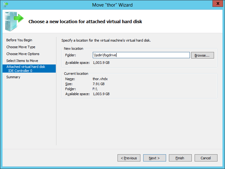 Moving the storage for a running VM from a local disk to a Windows Server SMB fileshare makes it easier to move the VM around within a small to mid-sized Hyper-V environment—with no SAN required, thanks to Storage Spaces.