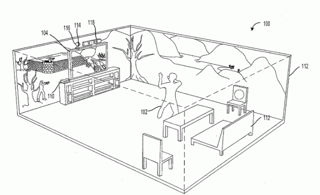 "The patent describes this figure as showing how the device could ""project a peripheral image in a 360-degree field around [the] environmental display."""