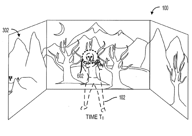 "This figure from the patent shows the projector detecting a user's position and ""shielding"" that area from the projected image."