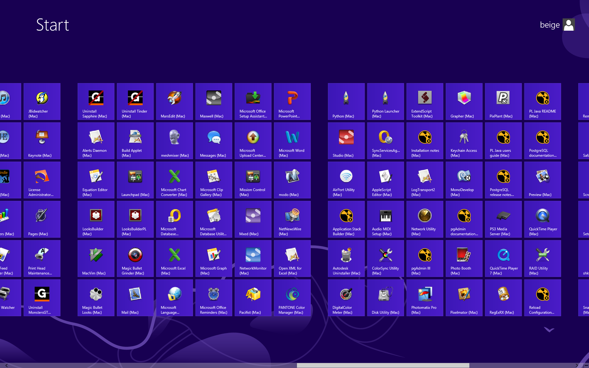 Every app between two OSes in Windows 8's start screen shown in a fluid mix of recent-usage and non-alphabetical order within a grid layout. This is the worst launcher ever.
