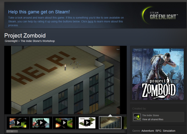 Project Zomboid is one of the highest rated titles on Steam Greenlight so far, but it has a built-in audience from its previous downloadable release.