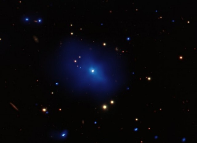 Composite optical and X-ray image of quasar 3C 186, one of the most distant yet observed. Two such quasars on opposite sides of the sky could close a loophole in interpreting quantum entanglement experiments.