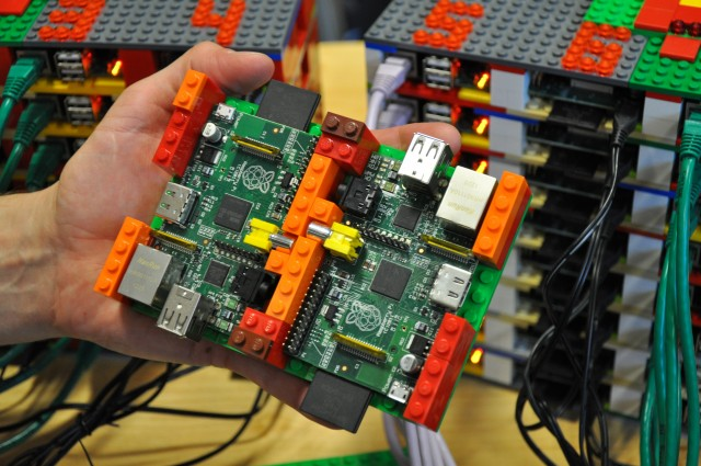 A pair of Raspberry Pi compute nodes in their Lego racking enclosure.