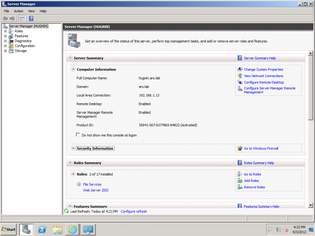The conventional Server Manager on Windows Server 2008 R2, for comparison purposes.