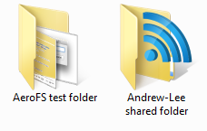 Shared folders appear with an icon overlay to differentiate them from standard folders.