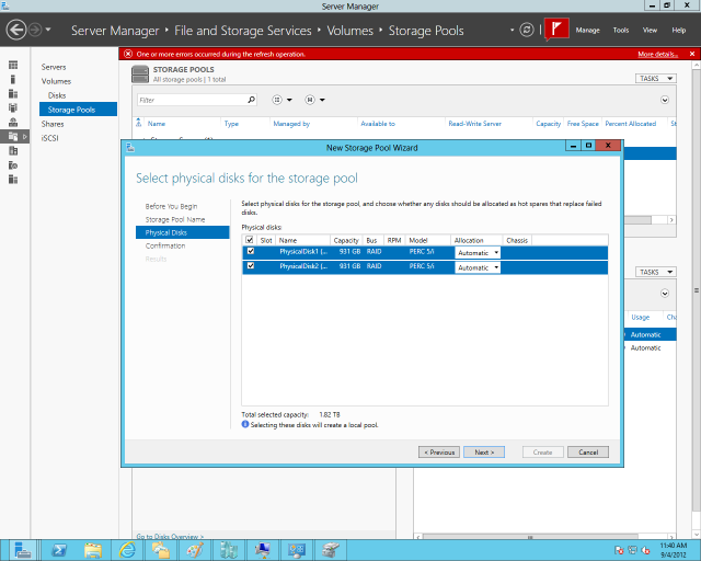 Assigning physical drives to a storage pool with Server 2012's Storage Spaces.