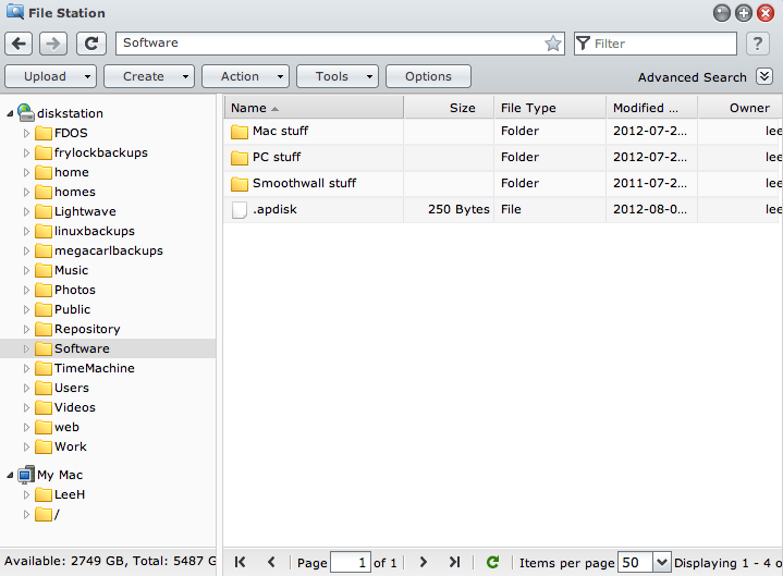 Synology File Station, the main file browsing interface.