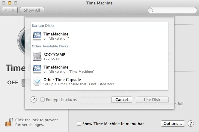 ...and selecting that share from within Time Machine's preference pane.