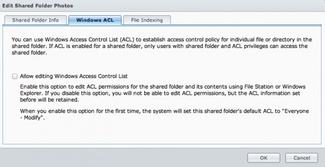 Enabling Windows ACLs has some security implications.
