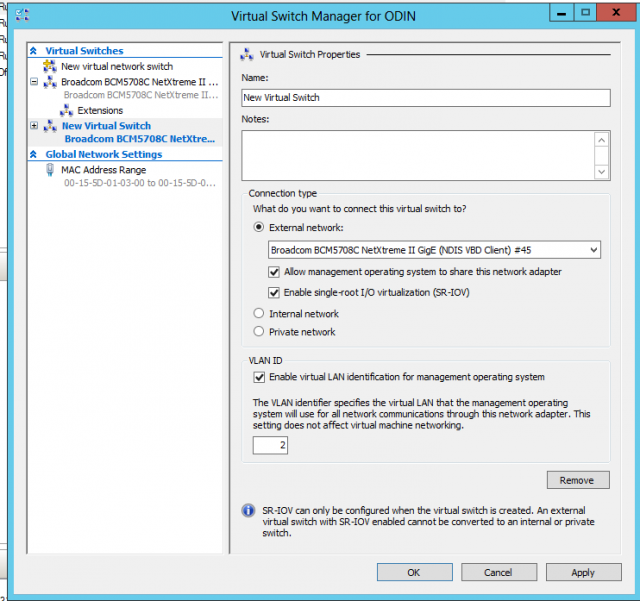 Configuring a new virtual switch to use SR-IOV. The interface can either be dedicated to the switch and its virtual machine client exclusively, or shared. You can't use SR-IOV and Windows Server's NIC teaming at the same time.
