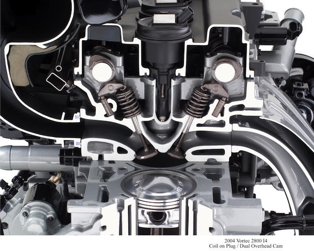 A cutaway of an engine showing the intake (left) and exhaust (right) valves.