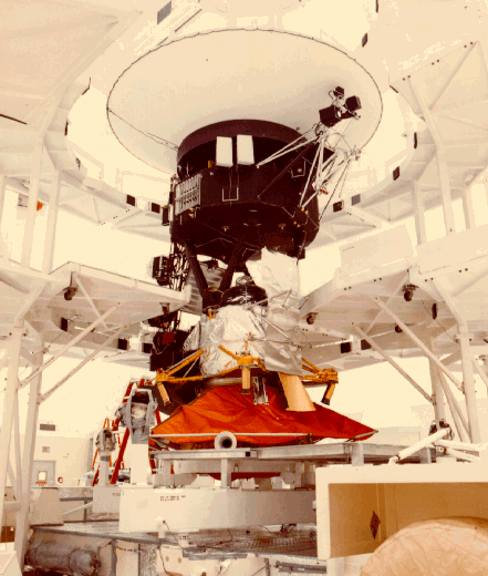 Voyager 1 spacecraft during assembly.