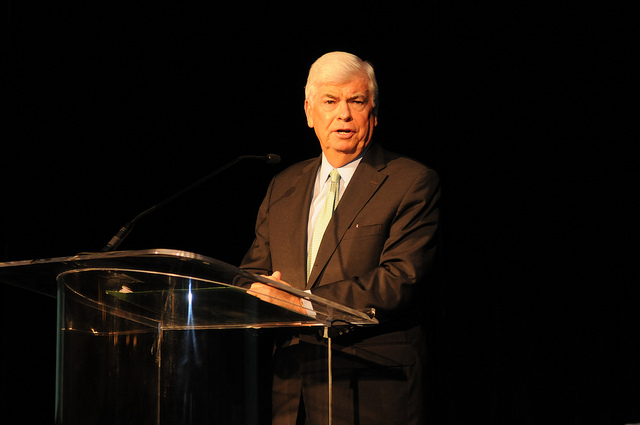 MPAA CEO Chris Dodd speaks to the Society of Motion Picture and Television Engineers in late 2011.