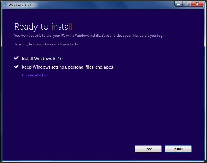 After this, you're asked to confirm your selections, and Windows 8 will begin its unattended install process.