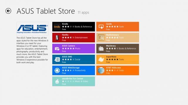 Asus has its own section of the Windows Store.