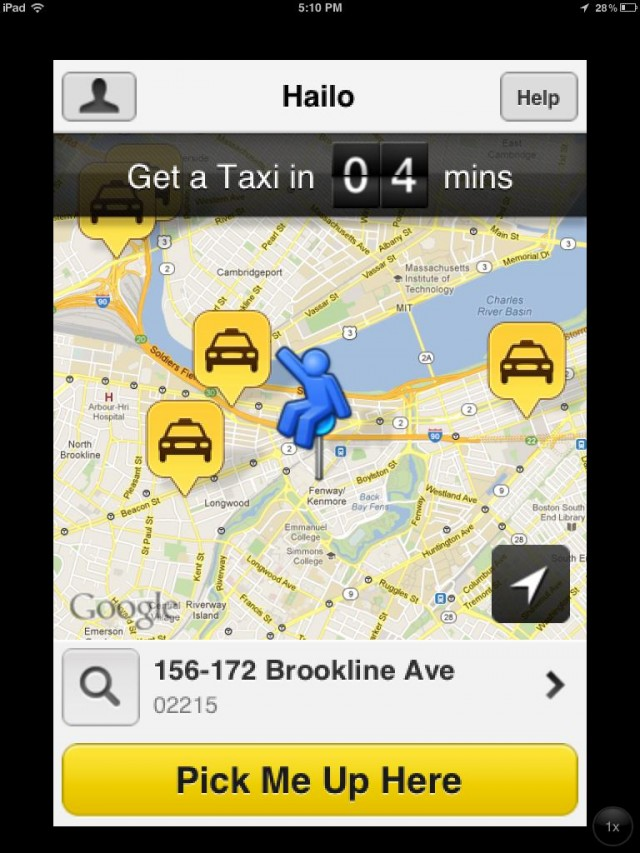 Hailo has a similar interface to other rideshare and private car service apps.