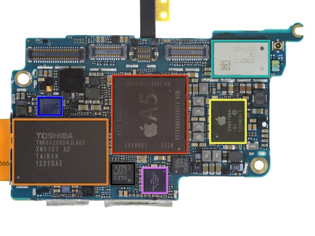 The lack of cellular radios, baseband chips, and dedicated GPS hardware makes the iPod touch's logic board much smaller than the iPhone's. Still, it shares many components with its iPhone sibling.
