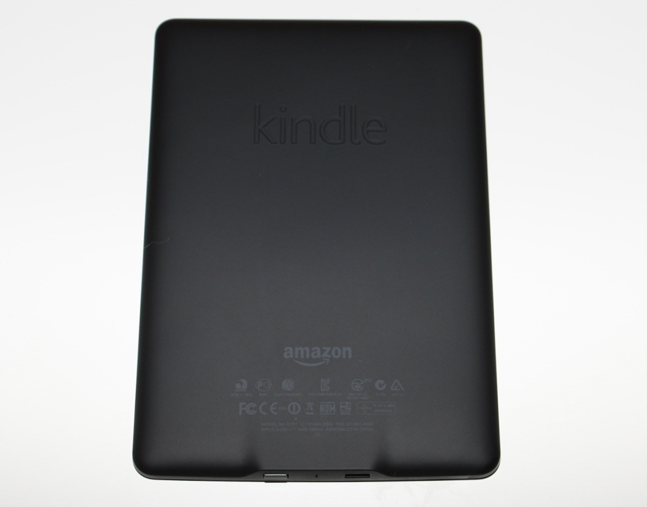The back of the Kindle Paperwhite.
