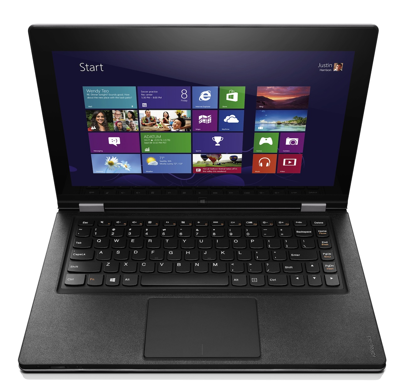 The IdeaPad Yoga 13 is .67 inches (17mm) thick and weighs 3.4 pounds (1.54kg).
