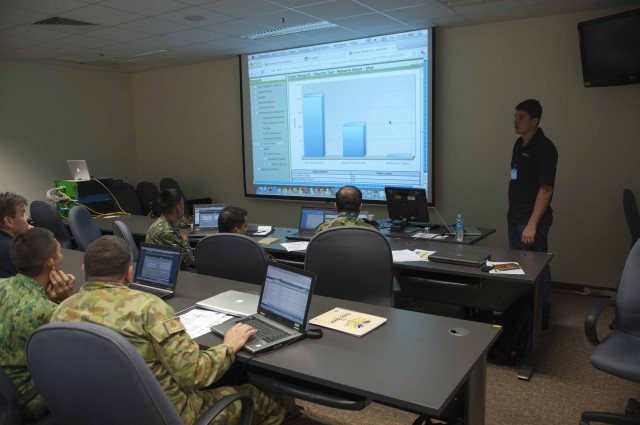 Gregory Fresnais, trains participants in Pacific Endeavor 2012's cyber exercise on the BreakingPoint cyber-range.