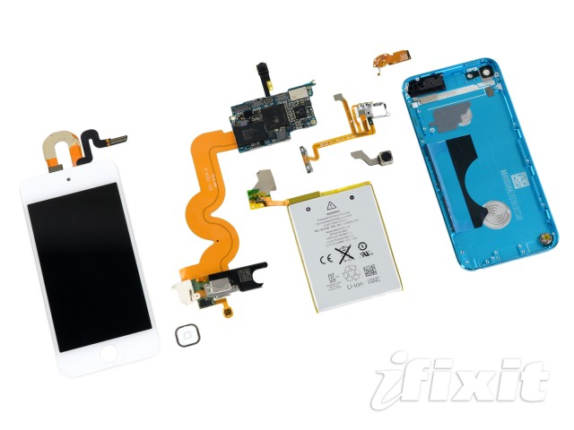 The fifth-generation iPod touch's components are mostly connected by ribbon cables and soldered together, making repair difficult and expensive.