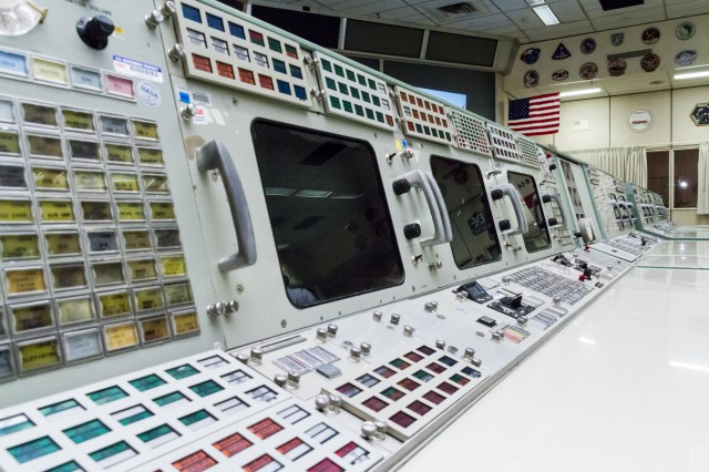 """The Trench"" — the front row of the restored Apollo Mission Operations Control Room"