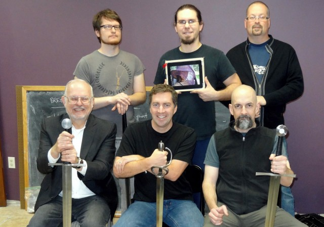 Authors of <em>The Mongoliad</em>. From left to right, Erik Bear, Joseph Brassey, Mark Teppo. Bottom row: Greg Bear, Cooper Moo, Neal Stephenson
