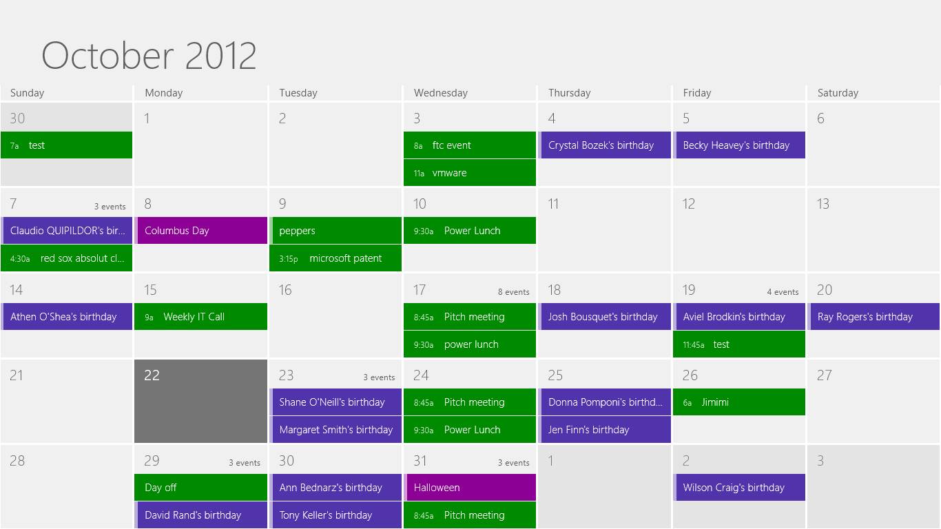 Calendar combines information from Facebook, Outlook.com, Google, and Exchange mail accounts into a single full-screen view.
