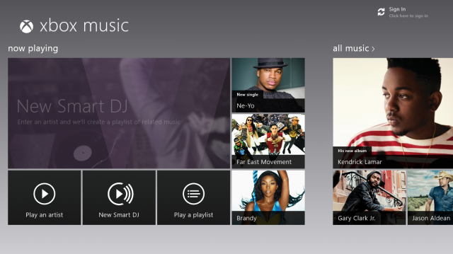 The Music app has now been re-branded as Xbox Music. It connects to the new Xbox Music store as well as anything in your Windows media libraries (and other media servers on your network).