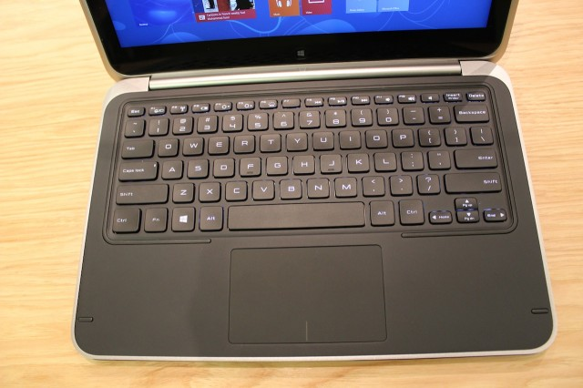 A closer look at the keyboard and multitouch trackpad. These are identical to those used in Dell's other XPS laptops.