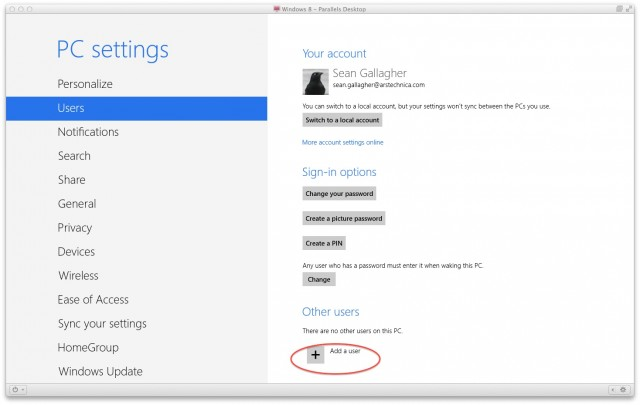"To add a user from PC Settings, click the ""Add a user"" plus sign under ""Other Users."""