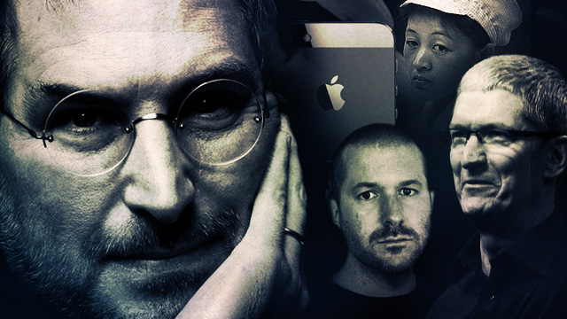 Counter-clockwise from the left, Steve Jobs, Jonathan Ive, Tim Cook, a Foxconn worker, the iPhone 5.