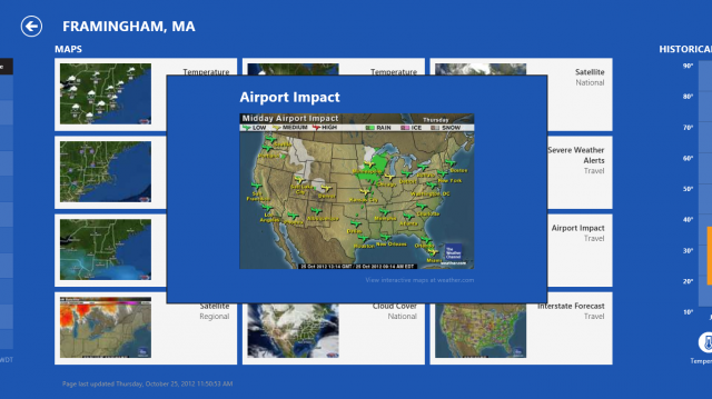 For travelers, a handy map showing weather impact at airports.
